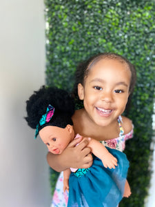 Natural Puffy Bee - African American Black Latino Hispanic Biracial Multicultural Curly Natural Hair 12 inch Baby Doll