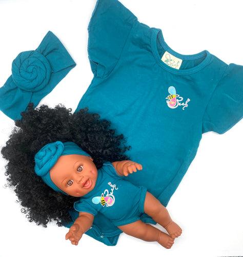 Matching Girl/Doll Romper & Headbands Set (doll sold separately)