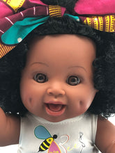 Load image into Gallery viewer, Natural Ella Bee - African American Black Latino Hispanic Biracial Multicultural Curly Natural Hair 12 inch Baby Doll