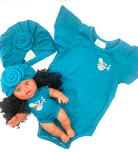 Load image into Gallery viewer, Matching Girl/Doll Romper & Turban Set (doll sold separately)