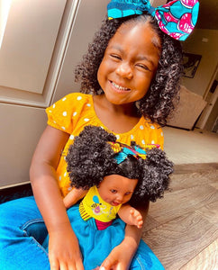 Sugar Puff Bee - African American Black Latino Hispanic Biracial Multicultural Curly Natural Hair 12 inch Baby Doll