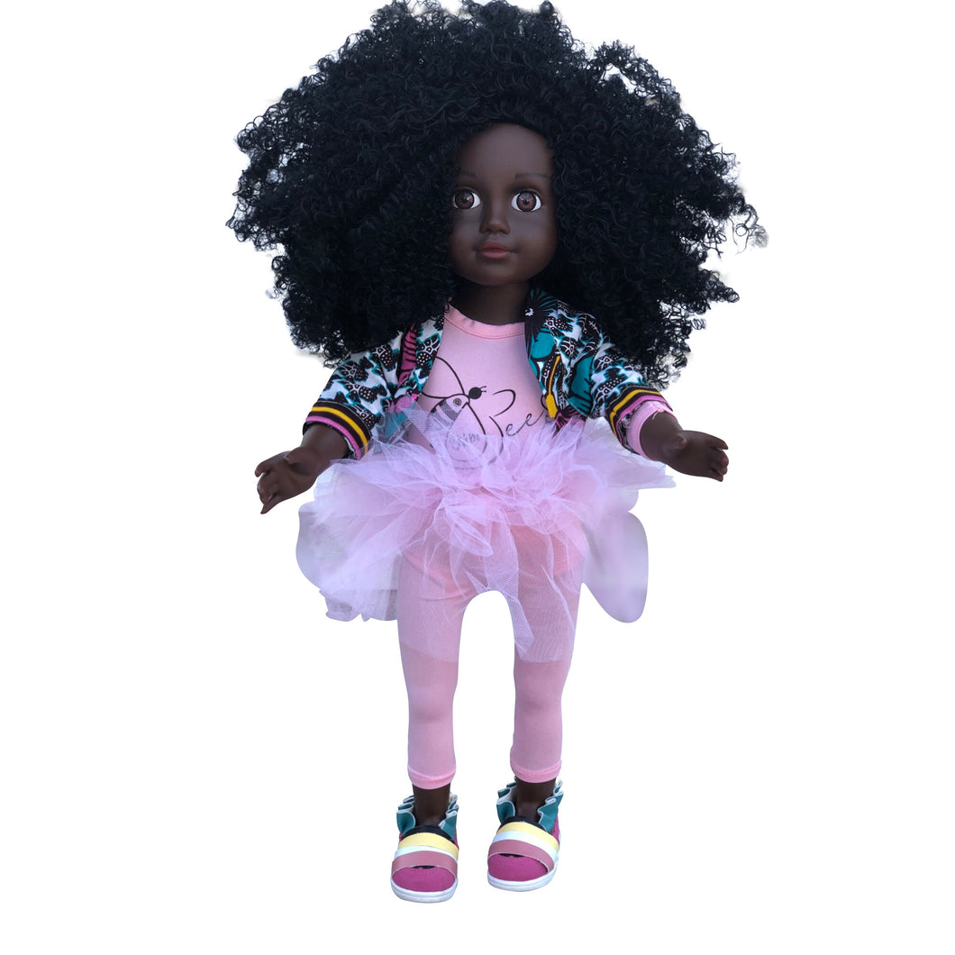 Curl Girlfriend Keisha -  African American Black Latino Hispanic Biracial Multicultural Curly Natural Hair 18 inch Fashion Doll