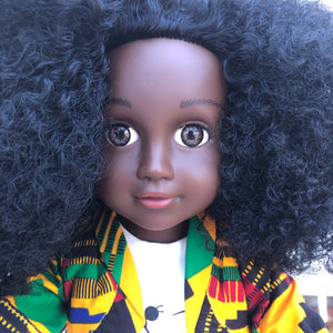 Curl Girlfriend Fatima - African American Black Latino Hispanic Biracial Multicultural Curly Natural Hair 18 inch Fashion Doll