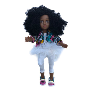 Curl Girlfriend Laila -  African American Black Latino Hispanic Biracial Multicultural Curly Natural Hair 18 inch Fashion Doll
