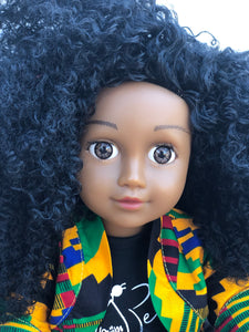 Curl Girlfriend Nandi -  African American Black Latino Hispanic Biracial Multicultural Curly Natural Hair 18 inch Fashion Doll