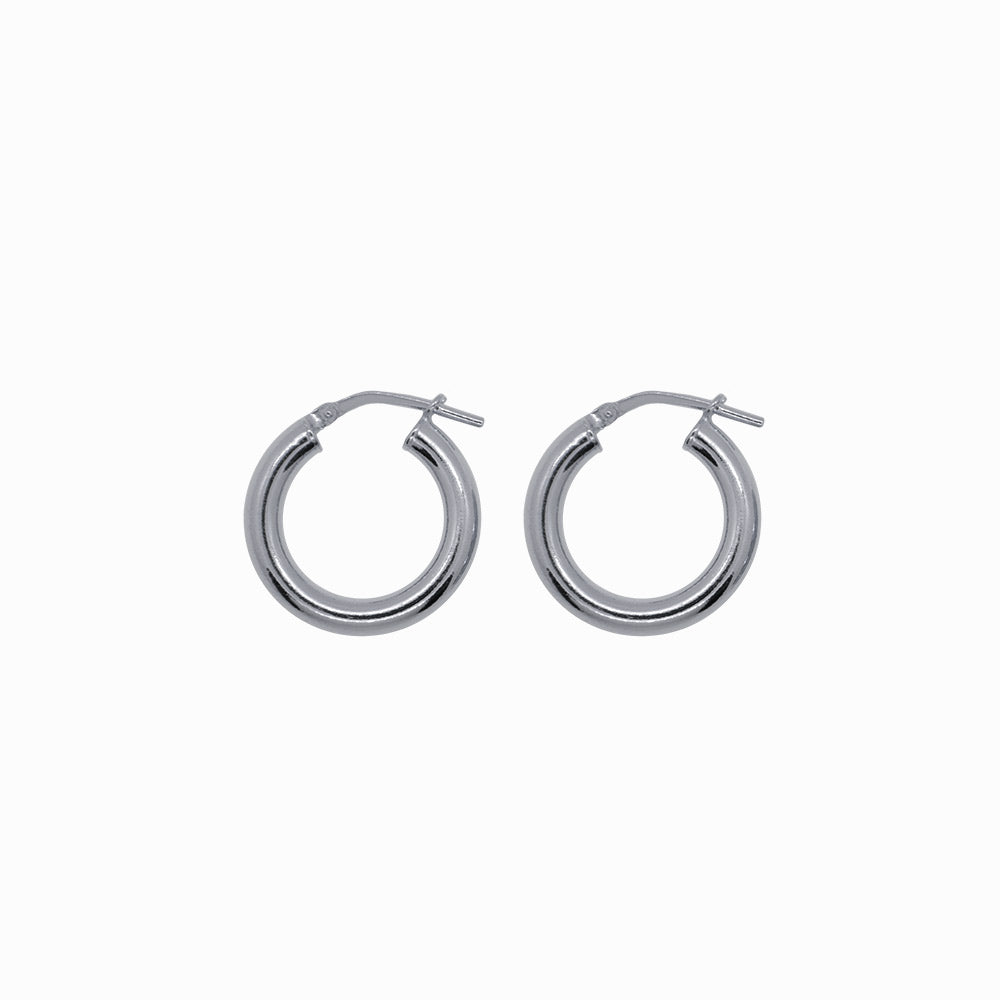 Chunky Hoop Earrings - Small - Silver