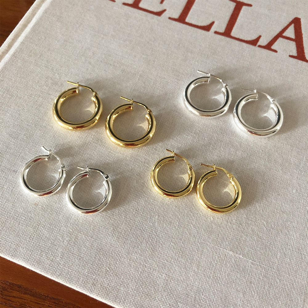 Chunky Hoop Earrings - Large - Silver