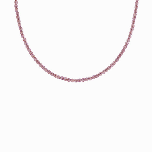 Greek Plum Glass Beaded Necklace