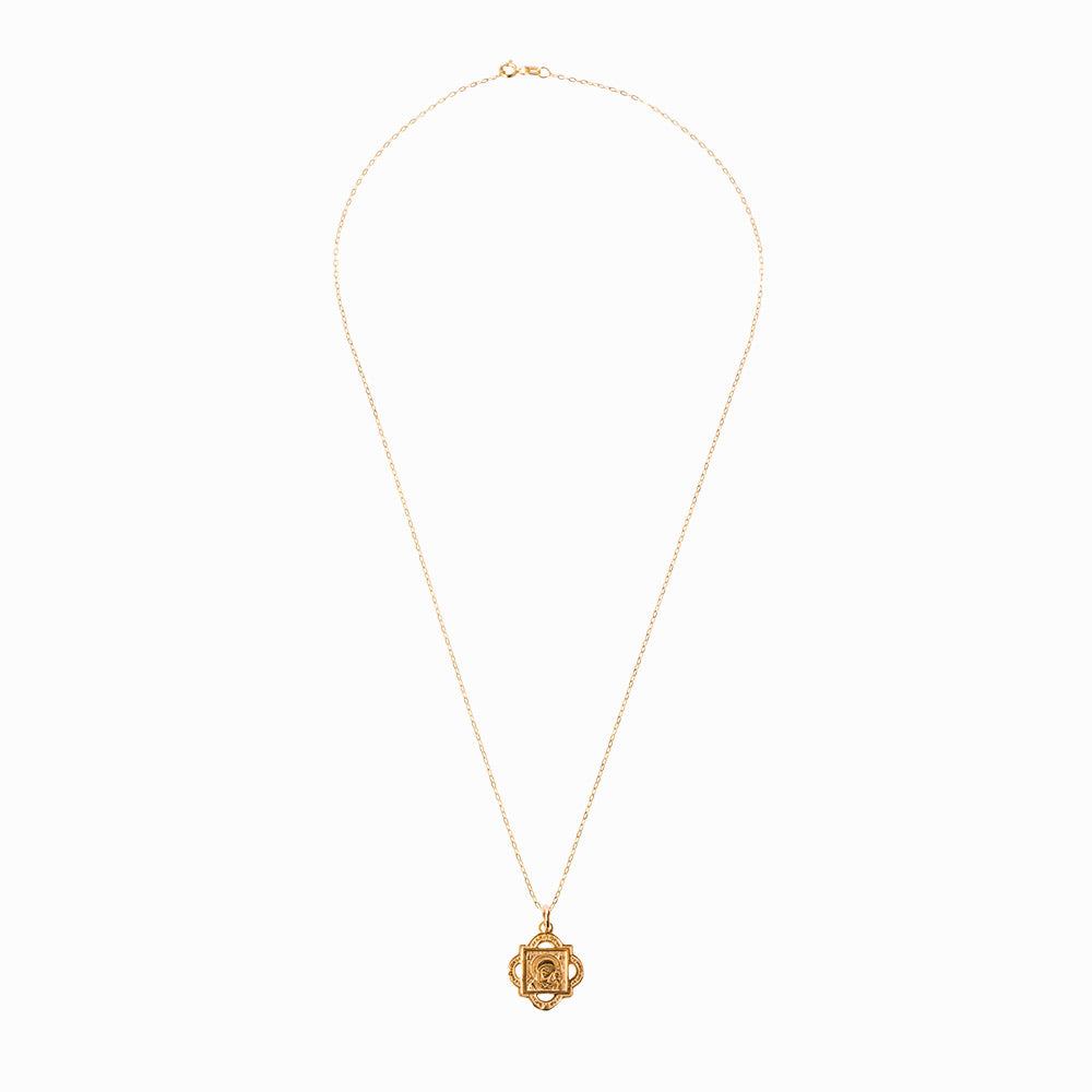 Madonna and Child Quatrefoil Gold Pendant