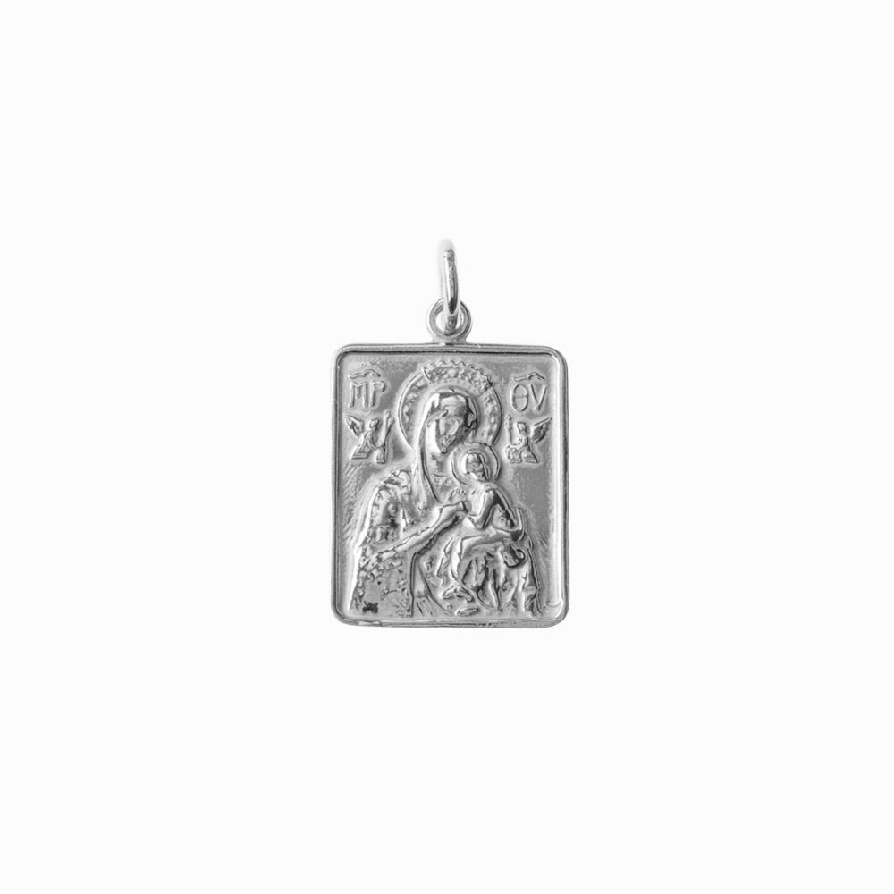 Madonna and Child Frame Silver Pendant