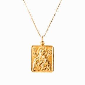 Madonna and Child Frame Gold Pendant