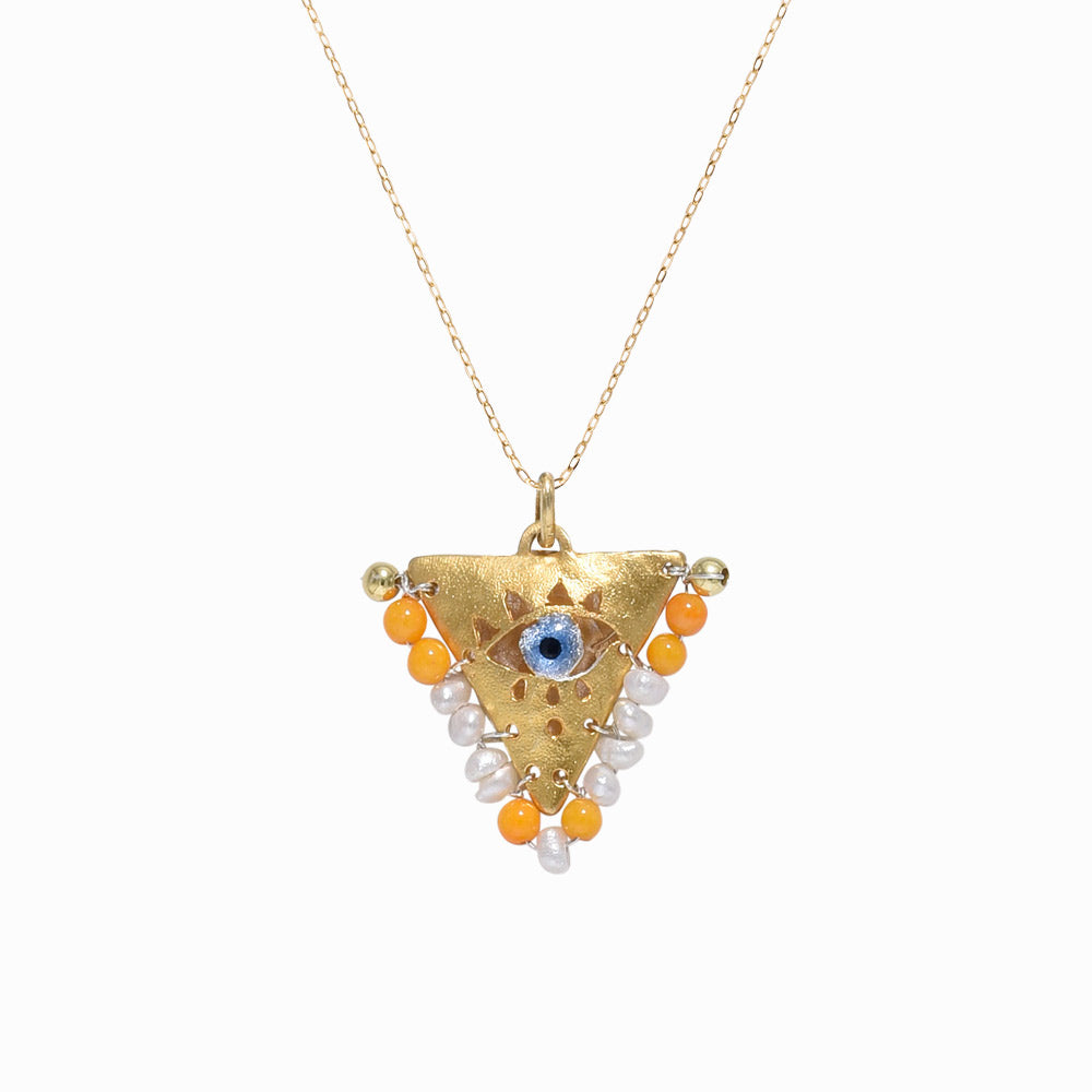 AMAYA Pearl & Orange Eye Pendant - Mama