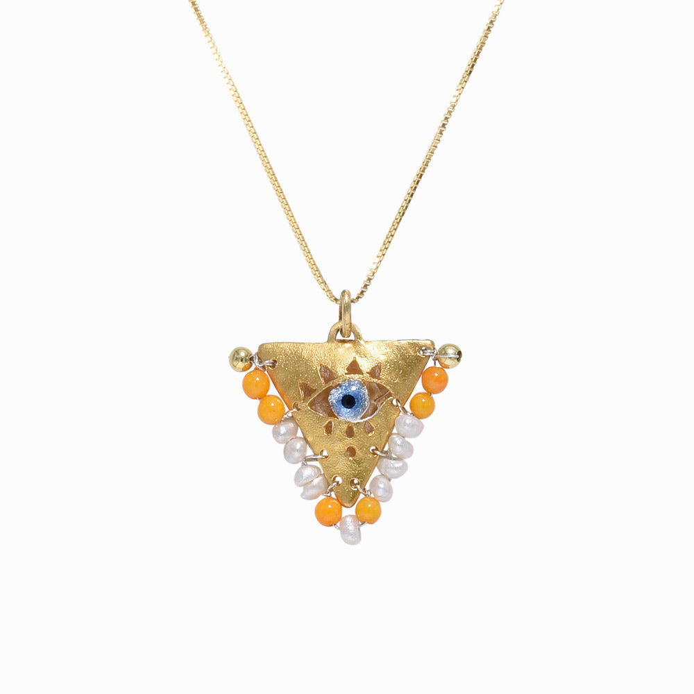 AMAYA Pearl & Orange Eye Pendant - Mama - Sister the brand