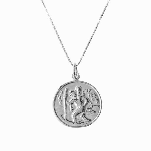 St Christopher and Madonna and Child Silver Pendant