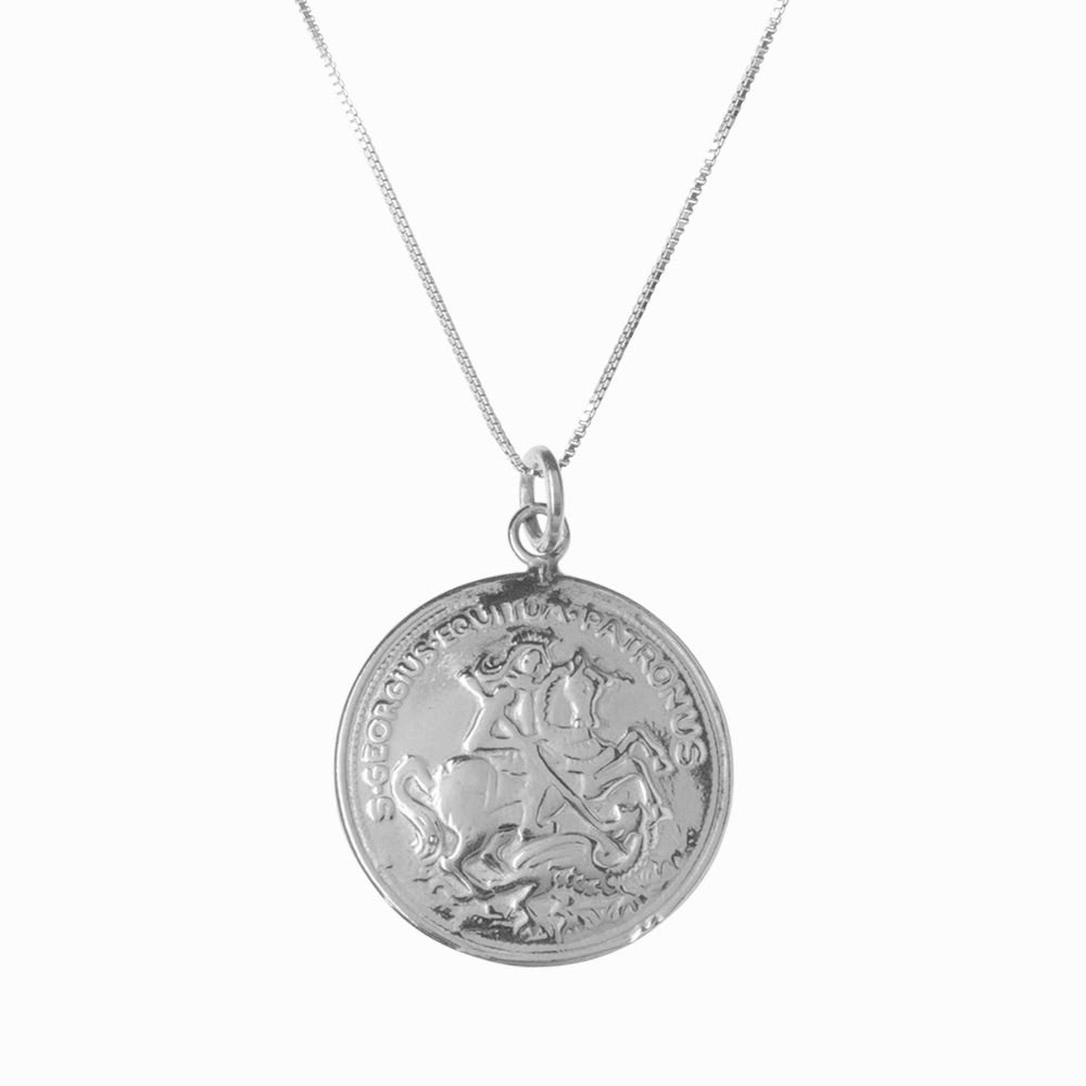St George and the Dragon Silver Pendant