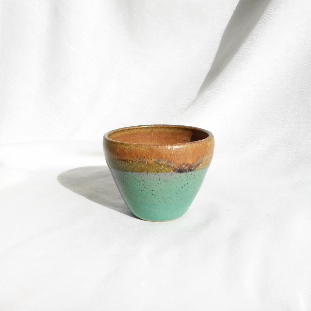 Green and brown small ceramic pot