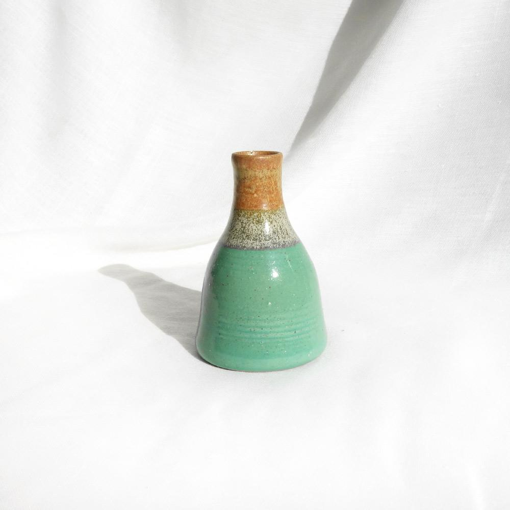 Small green and brown 'Boukala' ceramic vase