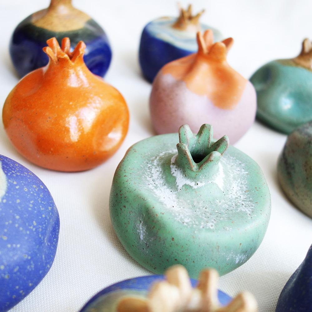 Blue ceramic pomegranate