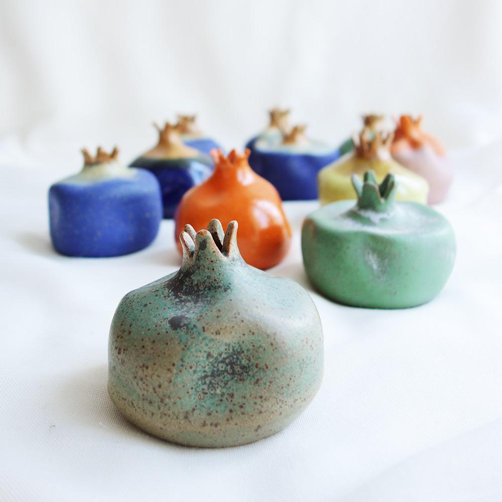 Blue Glazed ceramic pomegranate