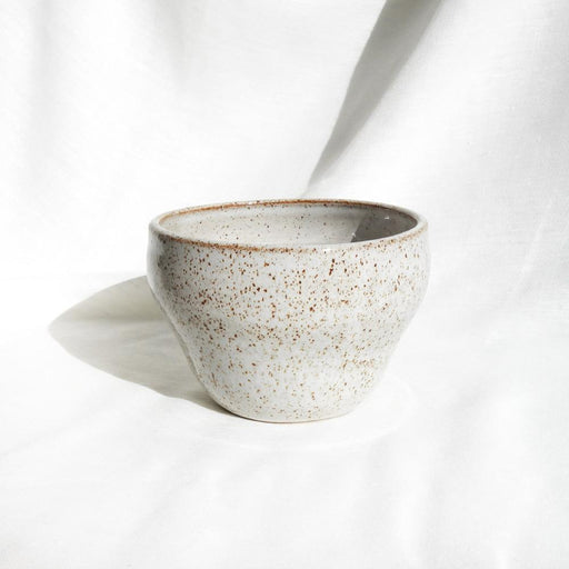 Large white speckled ceramic pot