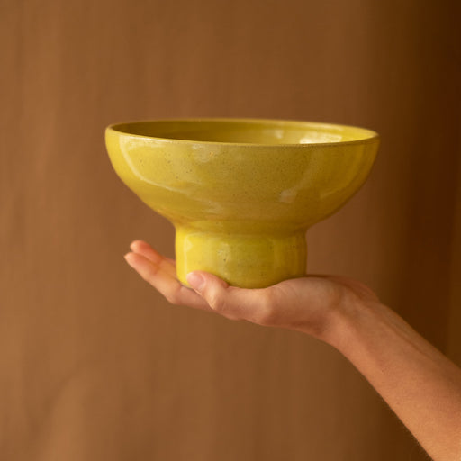 Yellow ceramic fruit bowl