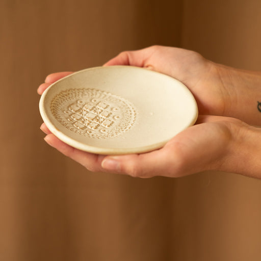 Matt white lace impressed ceramic meze plate