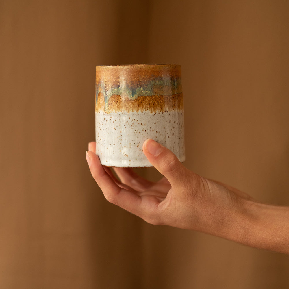 Short white and brown ceramic tumbler