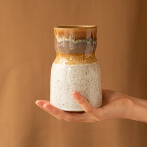 White and brown speckled 'Kampili' ceramic vase