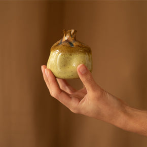 Yellow and brown ceramic Pomegranate