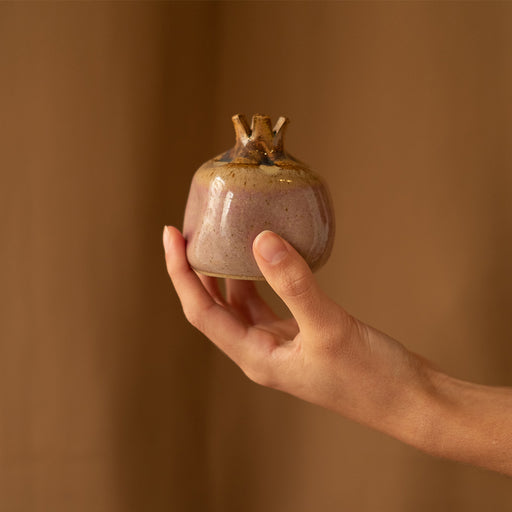 Purple and brown ceramic pomegranate