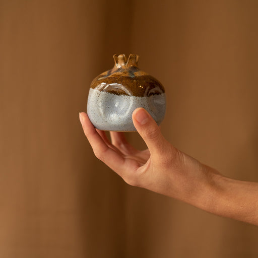 Lilac and brown ceramic pomegranate