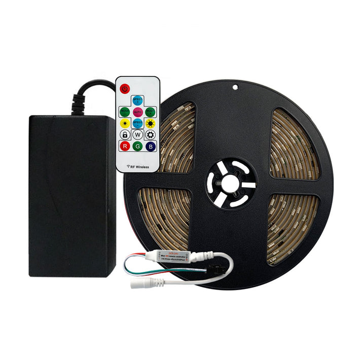 RGB LED Color Chasing Tape Light Kit 12V DC 16 ft Reel - step-1-dezigns