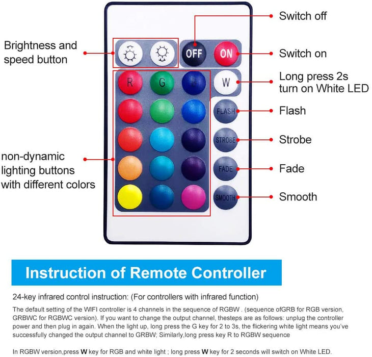 LED RGBW Wifi Controller with Remote
