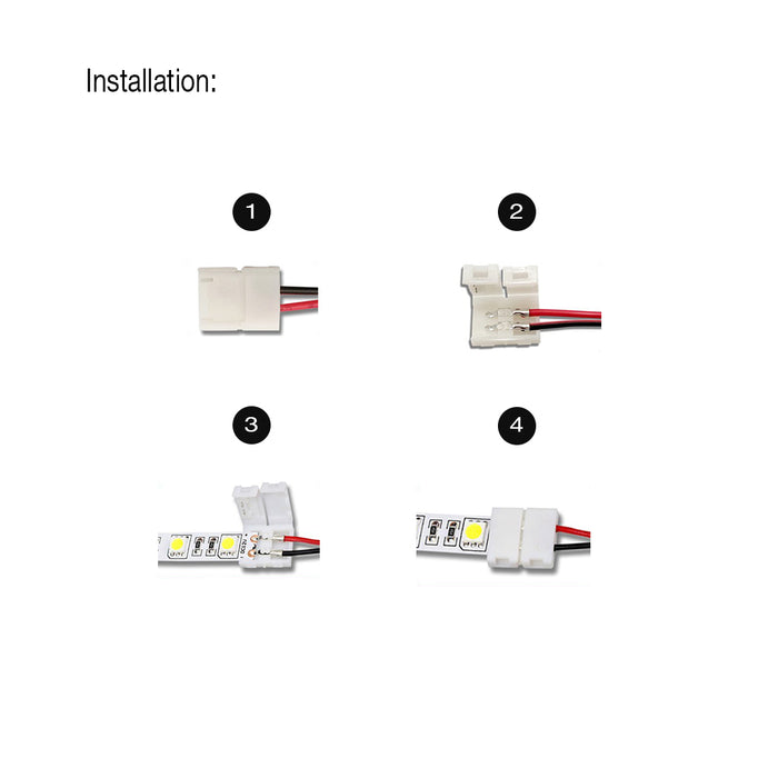 2-Pin Clip-On Connector LED Tape Power Feeds - 6 in - step-1-dezigns