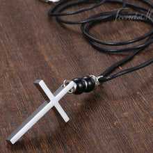 Load image into Gallery viewer, cross necklace pendant leather mens fashion zara