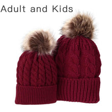 Load image into Gallery viewer, Matching PomPom Hat for kids and adults fashion red