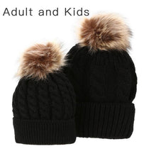 Load image into Gallery viewer, Matching PomPom Hat for kids and adults fashion black