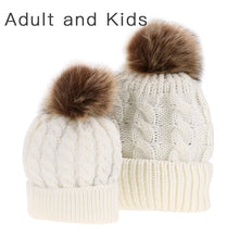 Load image into Gallery viewer, Matching PomPom Hat for kids and adults fashion pearl