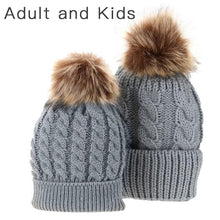 Load image into Gallery viewer, Matching PomPom Hat for kids and adults fashion grey