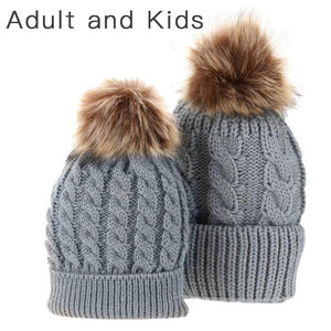Matching PomPom Hat for kids and adults fashion grey