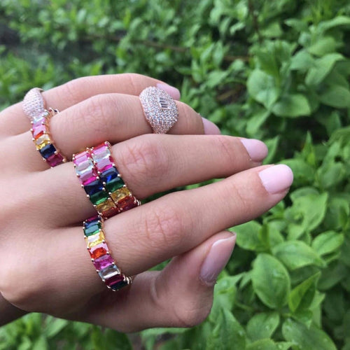Rainbow Cubic Zirconia RIngs