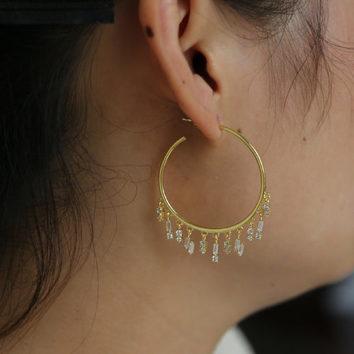 Crystal Tassel Hoops