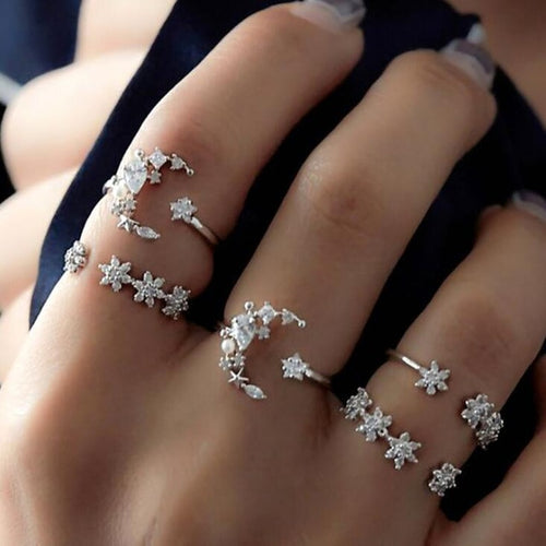 Crystal Moon Ring Set