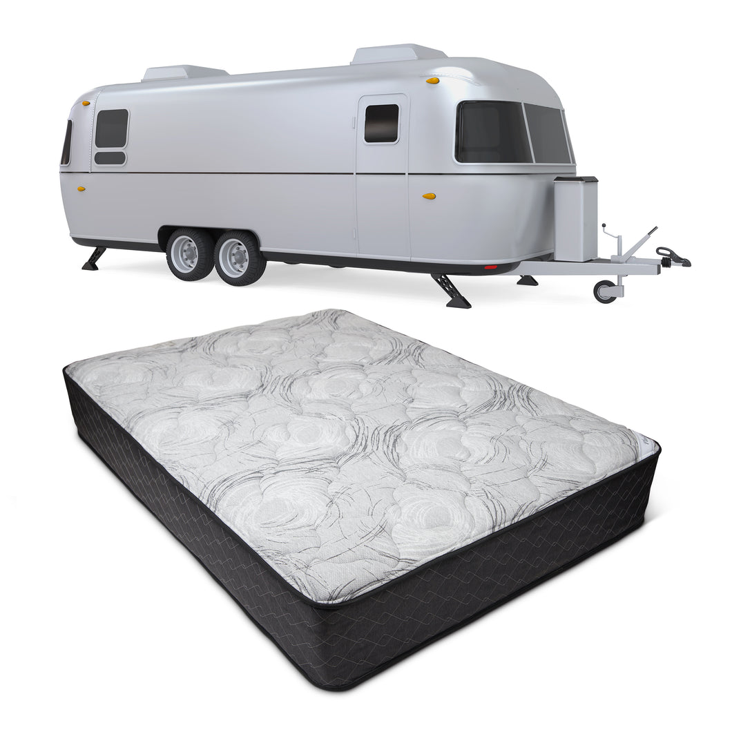 Dual Sleep RV mattress from Wolf shown with recreational vehicle in background