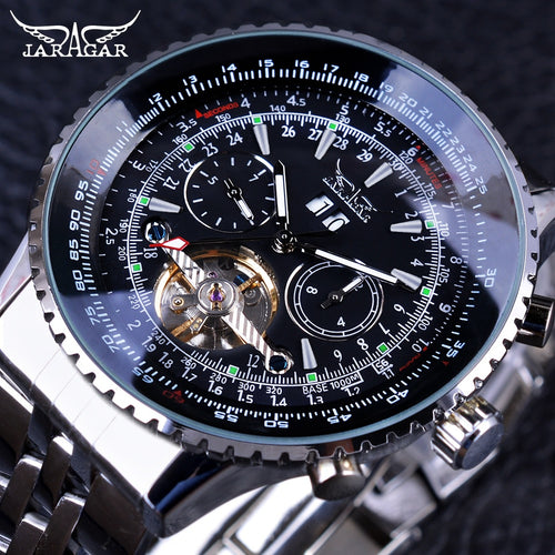 Jaragar Aviator Series Silver Stainless Steel Toubillion Design Mens Watch