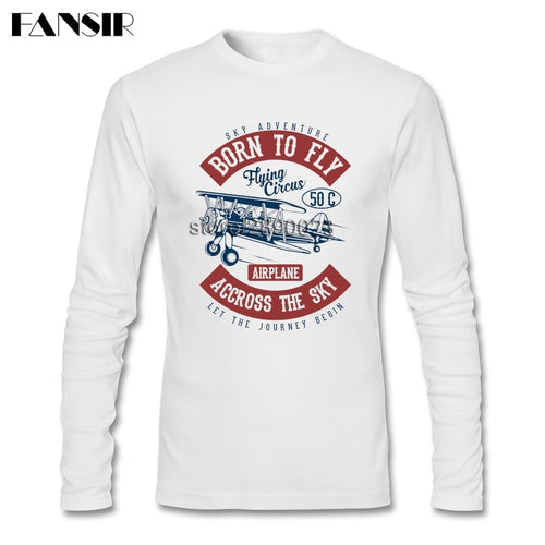 Men T Shirt Long Sleeve CrewNeck Cotton Pilot Born To Fly 2017 Latest T-shirt Men Boy