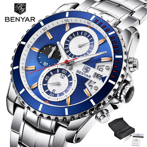 BENYAR Military Men Wrist Watch Chronograph Aviator