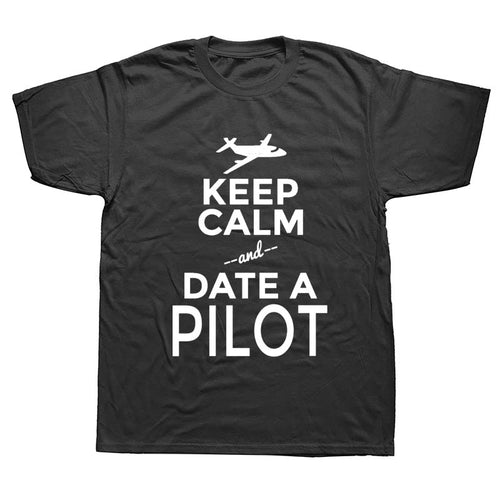 WEELSGAO T Shirt  Keep Calm And Date A Pilot