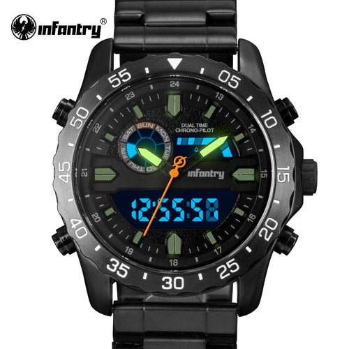 INFANTRY Military Watch Men LED Digital Quartz Dual Time