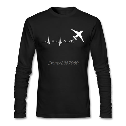Pilot Heartbeat T Shirt  Long Sleeve